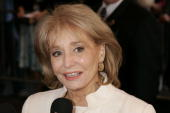 Television personality Barbara Walters arrives at the New Amsterdam theater for the Dana Reeve Memorial Service April 10 2006 in New York City