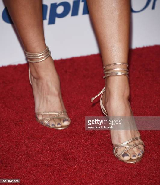 Television personality Becca Tilley shoe detail arrives at 1027 KIIS FM's Jingle Ball 2017 at The Forum on December 1 2017 in Inglewood California