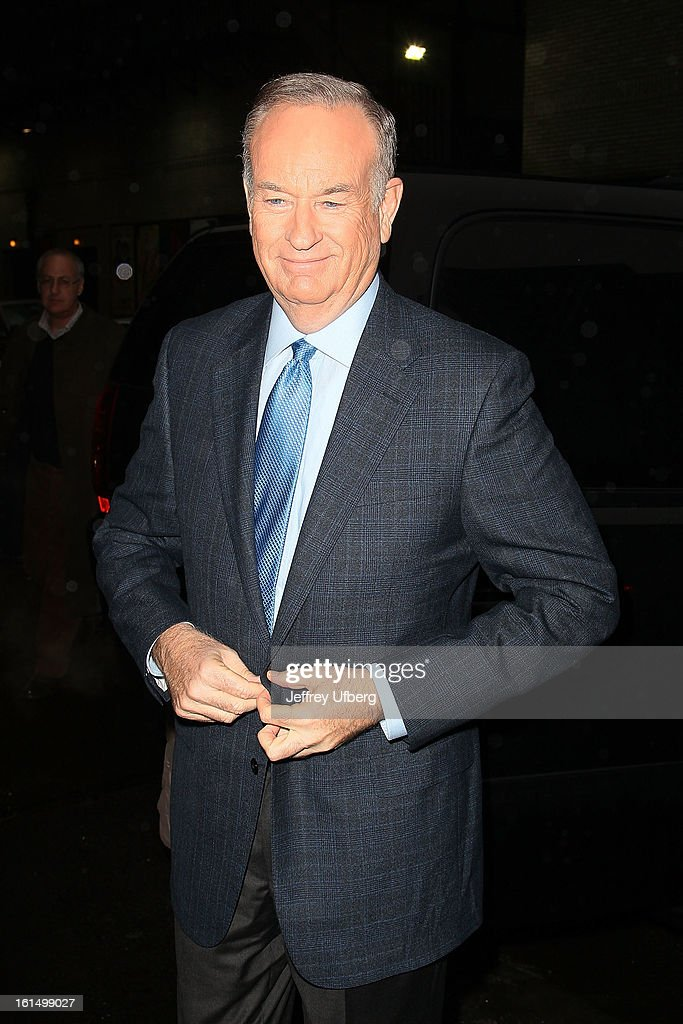 Television personality Bill O'Reilly arrives to 'Late Show with David Letterman' at Ed Sullivan Theater on February 11, 2013 in New York City.