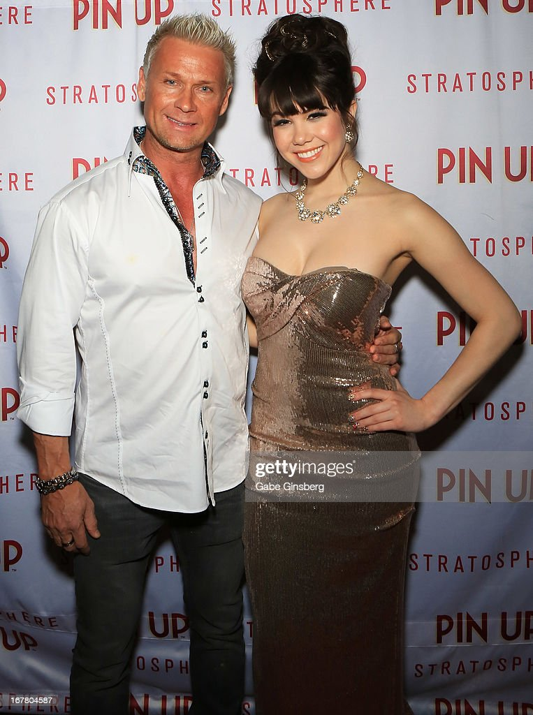 Television personality Brace Land (L) and model Claire Sinclair arrive at the premiere of the show 'Pin Up' at the Stratosphere Casino and Hotel on April 29, 2013 in Las Vegas, Nevada.