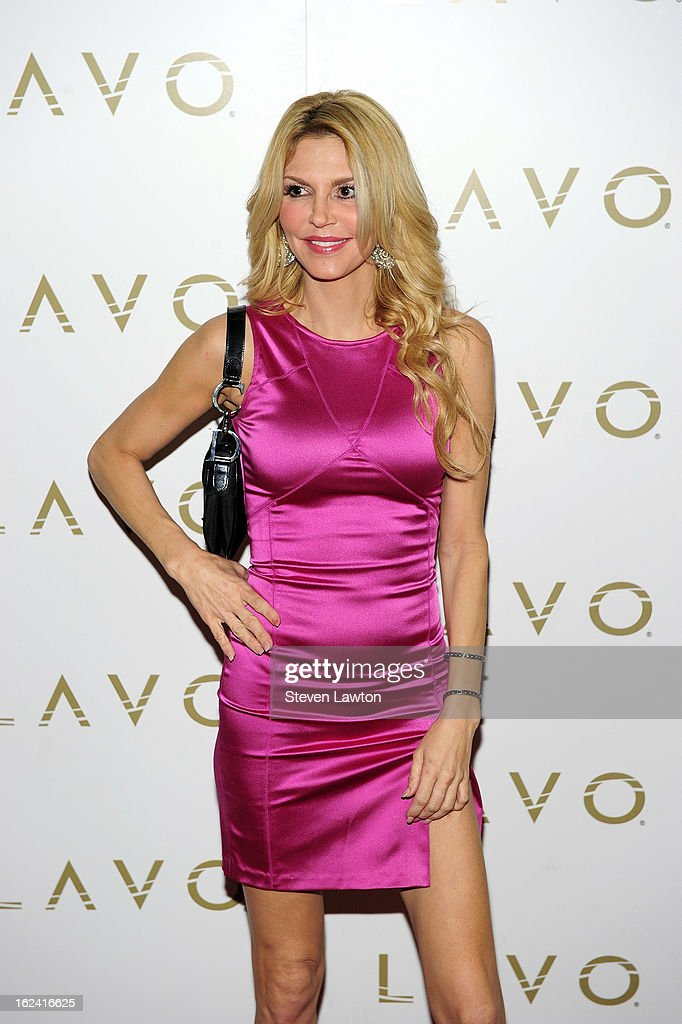 Television personality Brandi Glanville arrives at the Lavo Restaurant & Nightclub at The Palazzo to celebrate the release her new book 'Drinking & Tweeting and other Brandi Blunders' on February 22, 2013 in Las Vegas, Nevada.