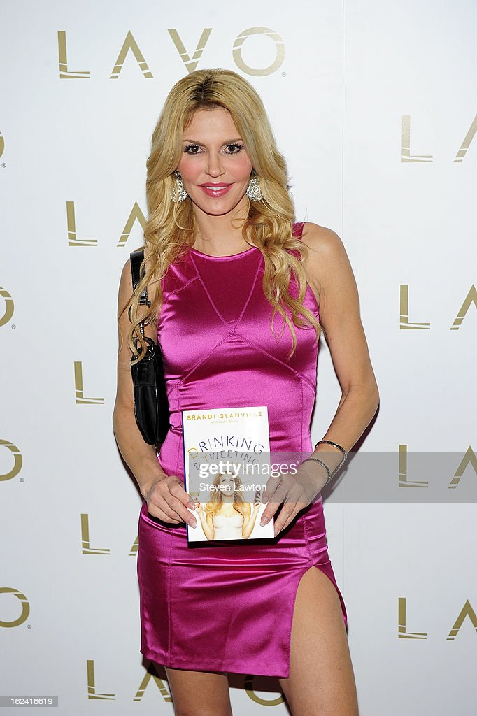 Television personality <a gi-track='captionPersonalityLinkClicked' href=/galleries/search?phrase=Brandi+Glanville&family=editorial&specificpeople=841250 ng-click='$event.stopPropagation()'>Brandi Glanville</a> arrives to release her new book 'Drinking & Tweeting and other Brandi Blunders' at the Lavo Restaurant & Nightclub at The Palazzo on February 22, 2013 in Las Vegas, Nevada.