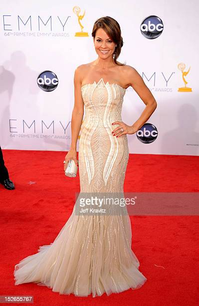 Television personality Brooke Burke Charvet arrives at the 64th Primetime Emmy Awards at Nokia Theatre LA Live on September 23 2012 in Los Angeles...