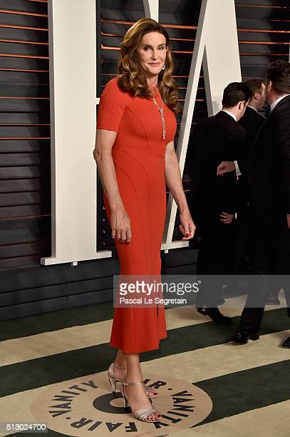 Television personality Caitlyn Jenner attends the 2016 Vanity Fair Oscar Party Hosted By Graydon Carter at the Wallis Annenberg Center for the...