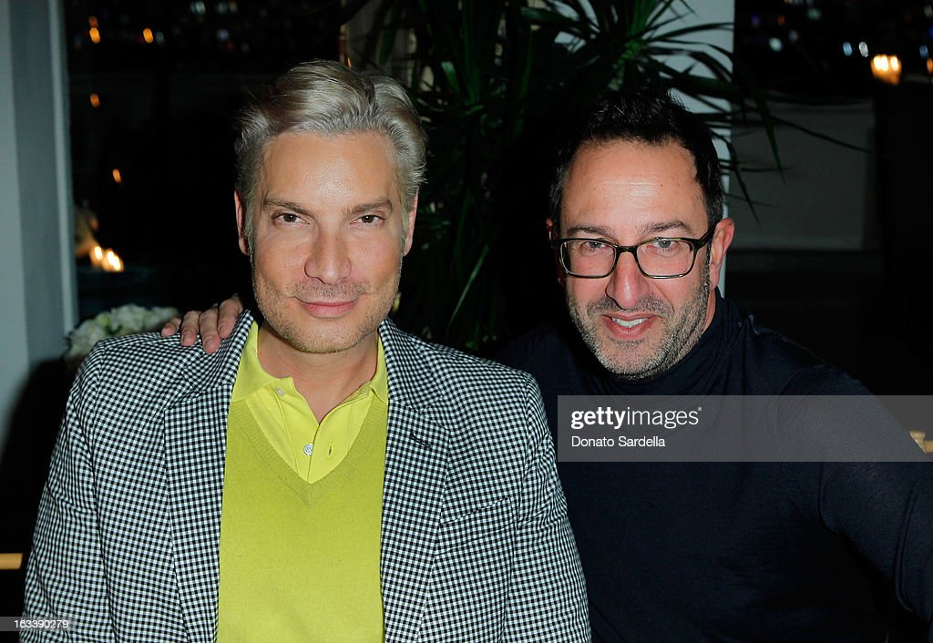 Television personality Cameron Silver and Christos Garkinos attend Joe Fresh private dinner hosted by Joe Mimran and Kate Mara at The Chateau Marmont on March 8, 2013 in Los Angeles, California.