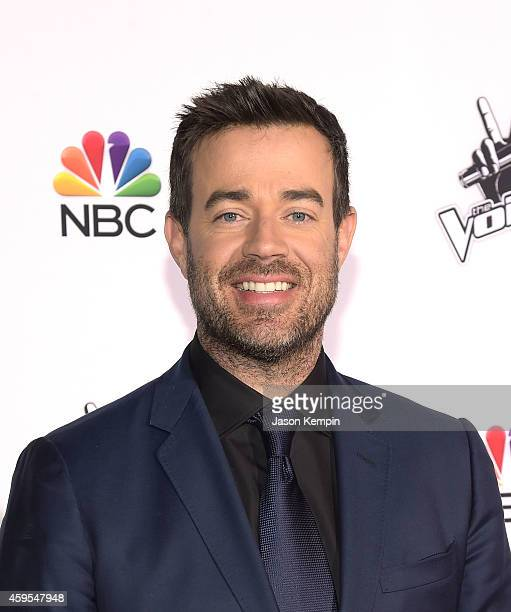 Television personality Carson Daly attends NBC's 'The Voice' Season 7 Red Carpet Event at Universal CityWalk on November 24 2014 in Universal City...