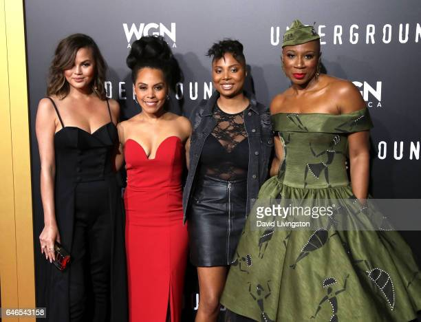 Television personality Chrissy Teigen actress Amirah Vann writer Misha Green and actress Aisha Hinds attend the premiere of WGN America's...