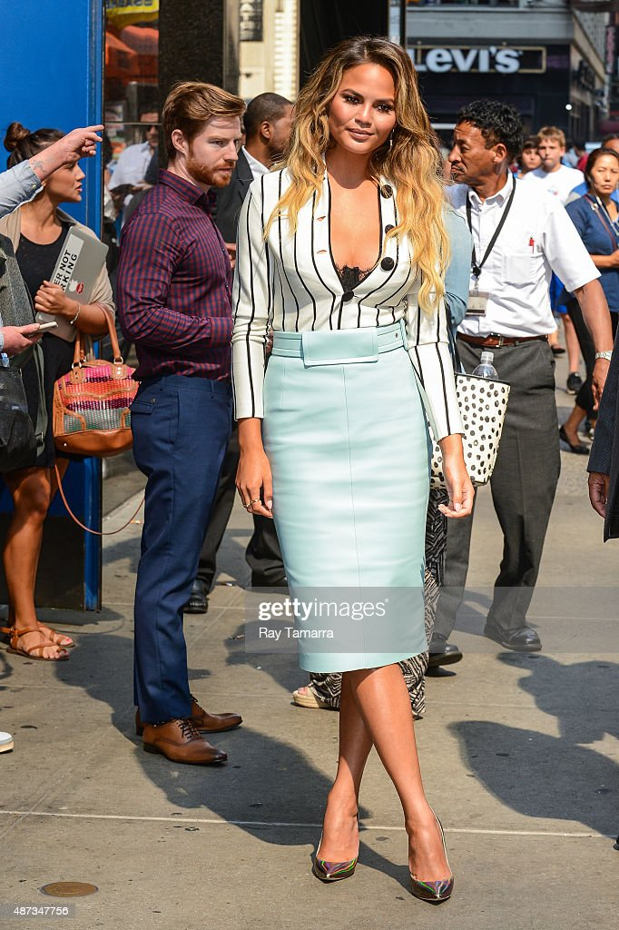 Television personality Chrissy Teigen leaves the 'Good Morning America' taping at the ABC Times Square Studios on September 8 2015 in New York City
