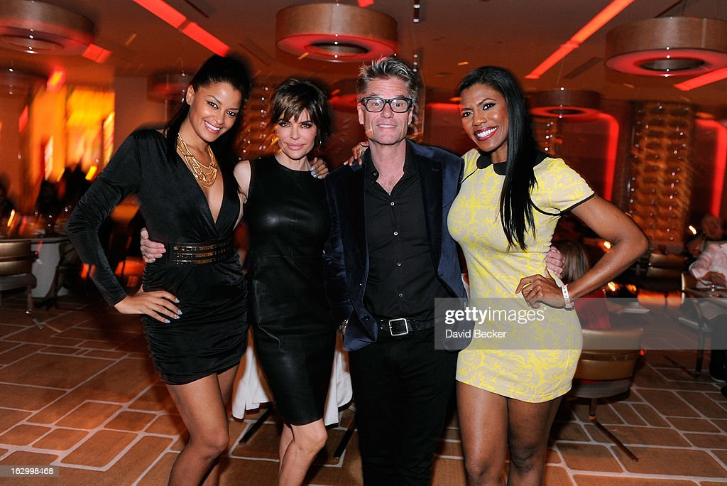 Television personality <a gi-track='captionPersonalityLinkClicked' href=/galleries/search?phrase=Claudia+Jordan&family=editorial&specificpeople=702294 ng-click='$event.stopPropagation()'>Claudia Jordan</a>, actress <a gi-track='captionPersonalityLinkClicked' href=/galleries/search?phrase=Lisa+Rinna&family=editorial&specificpeople=202100 ng-click='$event.stopPropagation()'>Lisa Rinna</a>, actor <a gi-track='captionPersonalityLinkClicked' href=/galleries/search?phrase=Harry+Hamlin&family=editorial&specificpeople=211584 ng-click='$event.stopPropagation()'>Harry Hamlin</a> and television personality Omarosa Manigault appear at Andrea's at Encore Las Vegas to celebrate the season premiere of 'All-Star Celebrity Apprentice' on March 2, 2013 in Las Vegas, Nevada.