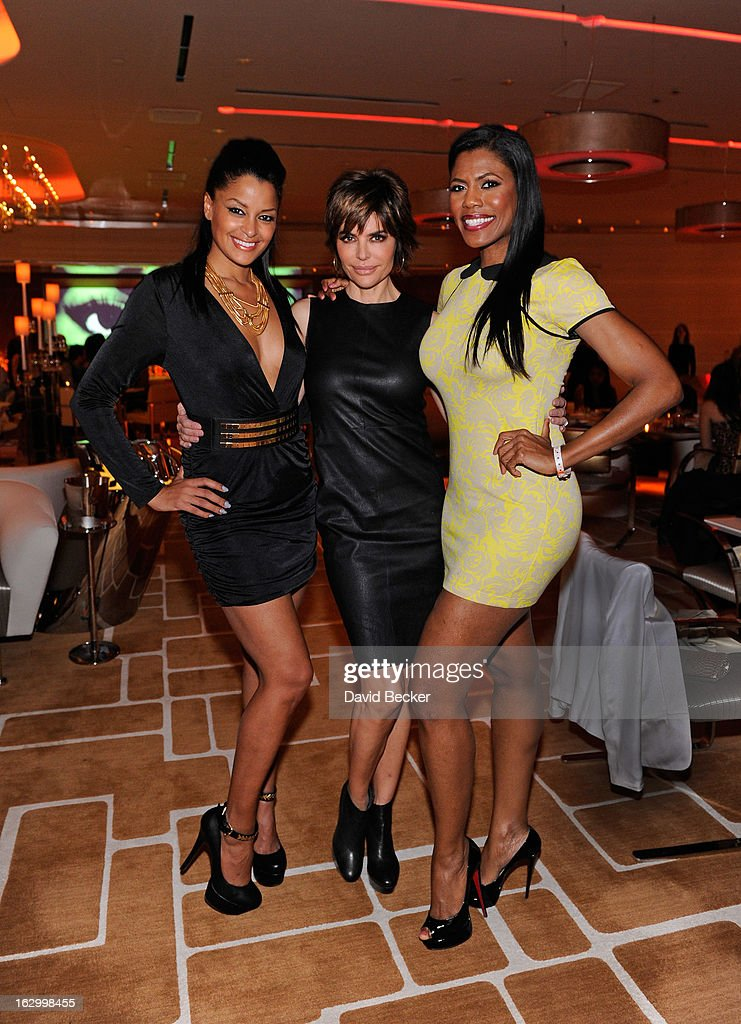 Television personality Claudia Jordan, actress Lisa Rinna and television personality Omarosa Manigault appear at Andrea's at Encore Las Vegas to celebrate the season premiere of 'All-Star Celebrity Apprentice' on March 2, 2013 in Las Vegas, Nevada.
