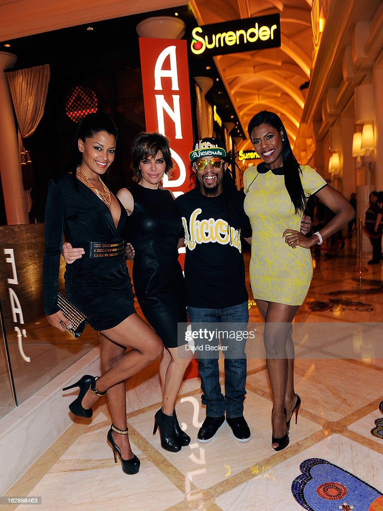 Television personality Claudia Jordan, actress Lisa Rinna, recording artist Lil' Jon and television personality Omarosa Manigault appear at Andrea's at Encore Las Vegas to celebrate the season premiere of 'All-Star Celebrity Apprentice' on March 2, 2013 in Las Vegas, Nevada.