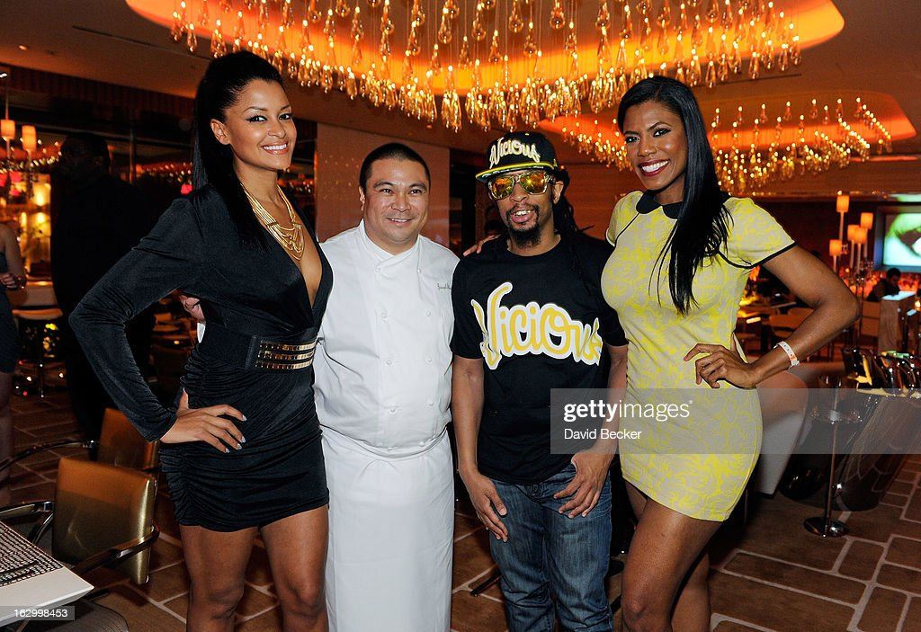 Television personality Claudia Jordan, chef Joseph Elevado, television personality Omarosa Manigault and recording artist Lil' Jon appear at Andrea's at Encore Las Vegas to celebrate the season premiere of 'All-Star Celebrity Apprentice' on March 2, 2013 in Las Vegas, Nevada.