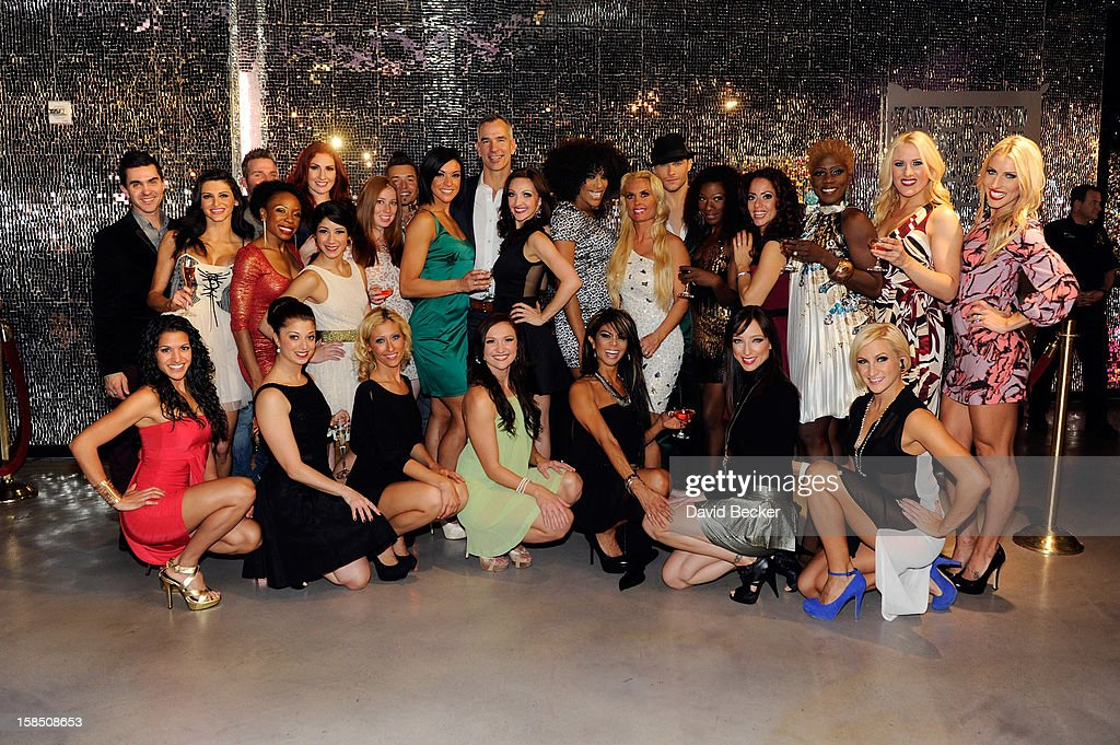 Television personality Coco Austin (7th R standing) attends a reception with cast members after her opening night performance in 'Peepshow' at the Planet Hollywood Resort and Casino on December 17, 2012 in Las Vegas, Nevada.