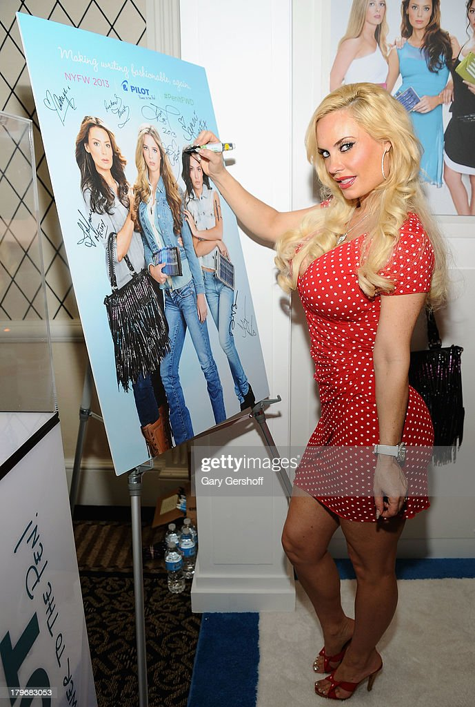 Television personality Coco Austin poses at the GBK & Sparkling Resort Fashionable Lounge during Mercedes-Benz Fashion Week on September 6, 2013 in New York City.