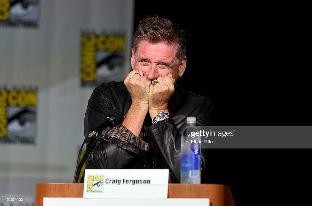 Television personality <a gi-track='captionPersonalityLinkClicked' href=/galleries/search?phrase=Craig+Ferguson+-+Talk+Show+Host&family=editorial&specificpeople=204509 ng-click='$event.stopPropagation()'>Craig Ferguson</a> reacts as he moderates CBS' 'The Big Bang Theory' panel at the San Diego Convention Center after he made fun of a fan for asking the panel what the show had against DC Comics superhero Aquaman before learning the question was from the granddaughter of the character's creator Paul Norris on July 25, 2014 in San Diego, California.