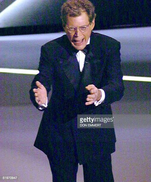 US television personality David Letterman delivers his opening monologue as he hosts the 67th annual Academy Awards in Los Angeles 27 March Letterman...