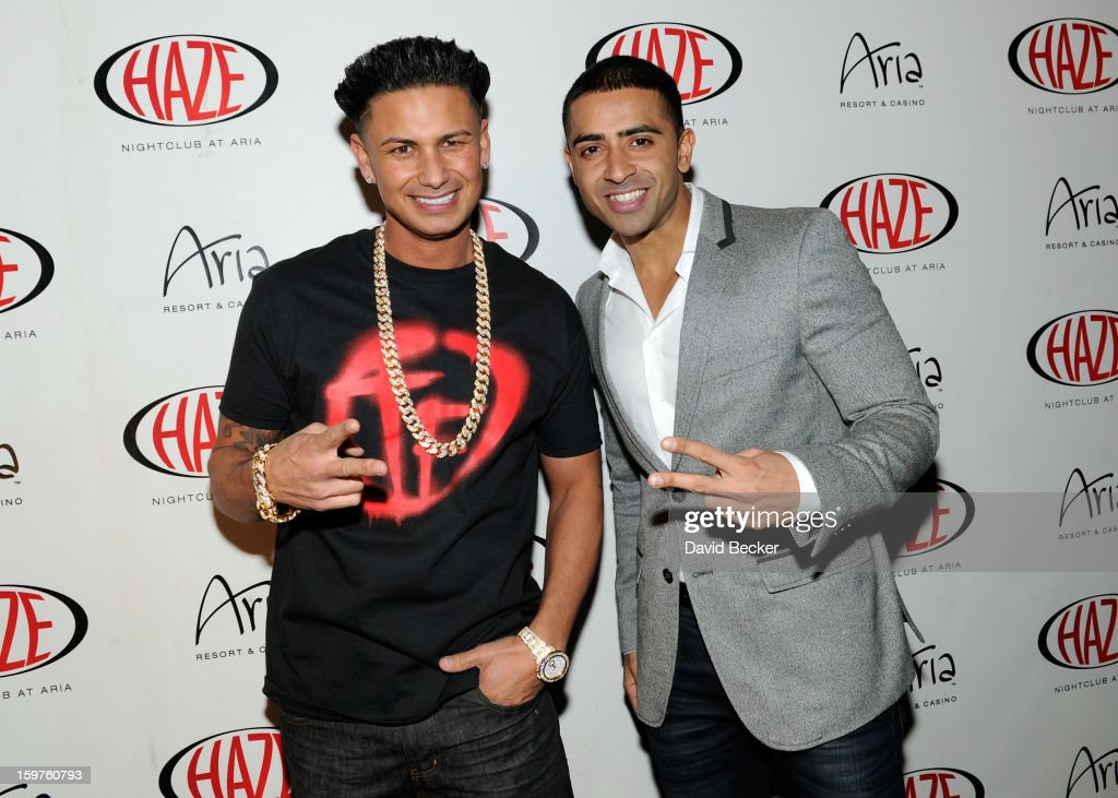Television personality DJ Paul 'Pauly D' DelVecchio (L) and recording artist Jay Sean arrive at DelVecchio's year-long residency kick-off at Haze Nightclub at the Aria Resort & Casino at CityCenter on January 19, 2013 in Las Vegas, Nevada.