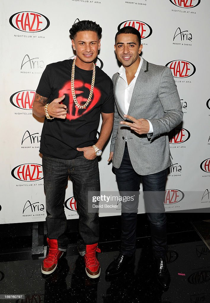 Television personality DJ Paul 'Pauly D' DelVecchio (L) and recording artist <a gi-track='captionPersonalityLinkClicked' href=/galleries/search?phrase=Jay+Sean&family=editorial&specificpeople=215091 ng-click='$event.stopPropagation()'>Jay Sean</a> arrive at DelVecchio's year-long residency kick-off at Haze Nightclub at the Aria Resort & Casino at CityCenter on January 19, 2013 in Las Vegas, Nevada.