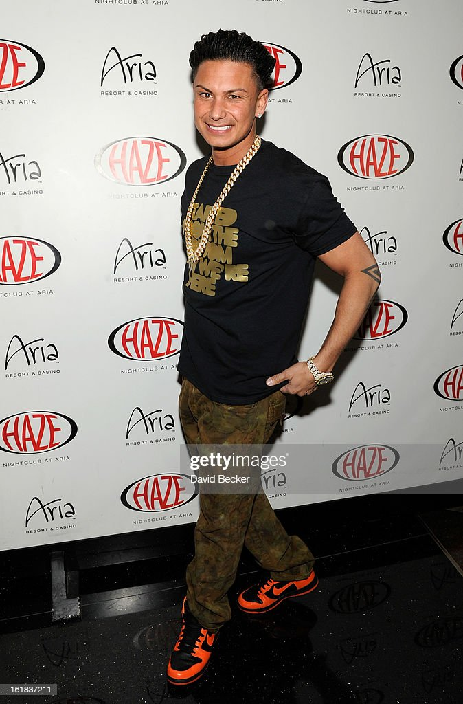 Television personality DJ Paul 'Pauly D' DelVecchio arrives at Haze Nightclub at the Aria Resort & Casino at CityCenter to perform on February 16, 2013 in Las Vegas, Nevada.