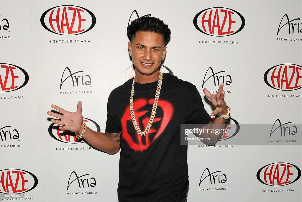 Television personality DJ Paul 'Pauly D' DelVecchio arrives at his year-long residency kick-off at Haze Nightclub at the Aria Resort & Casino at CityCenter on January 19, 2013 in Las Vegas, Nevada.