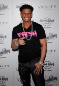 Television personality DJ Paul 'Pauly D' DelVecchio arrives at the Vanity Nightclub at the Hard Rock Hotel Casino to perform at 'Absolution A...