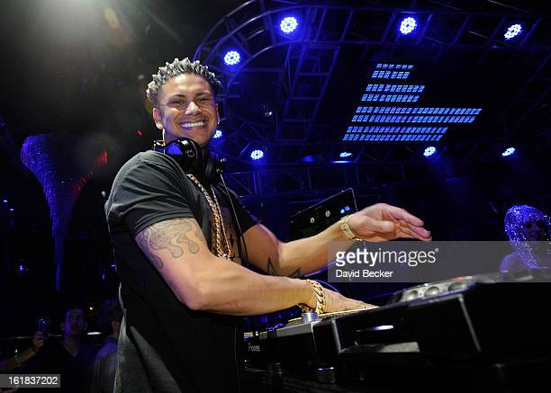 Television personality DJ Paul 'Pauly D' DelVecchio performs at Haze Nightclub at the Aria Resort Casino at CityCenter on February 16 2013 in Las...