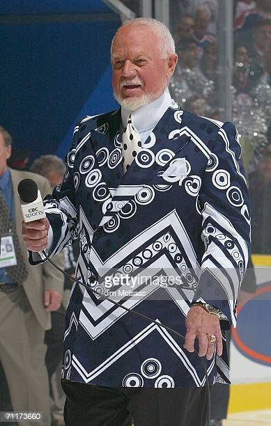 Television personality Don Cherry enters the ice before the start of game three of the 2006 NHL Stanley Cup Finals between the Edmonton Oilers and...