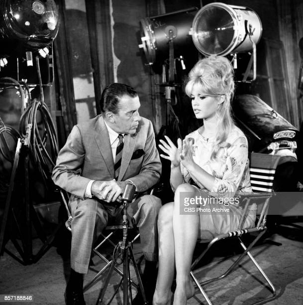 CBS television personality Ed Sullivan with French actress Brigitte Bardot They discuss her acting in the theatrical film A Very Private Affair Image...