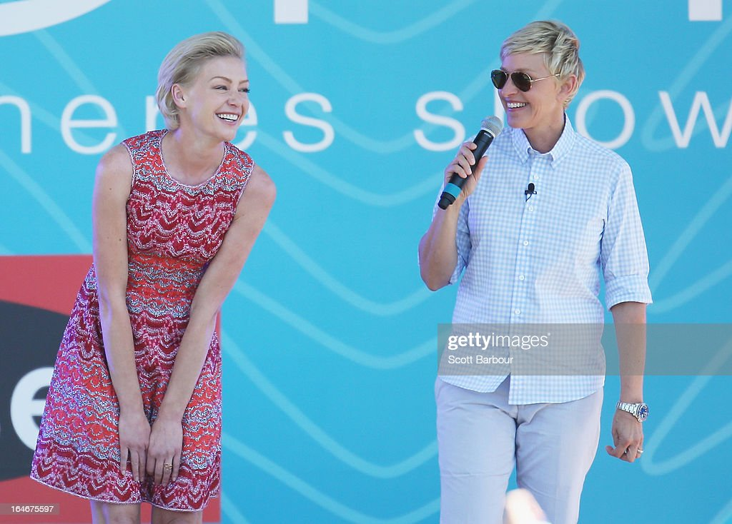 Television personality Ellen DeGeneres (R) and her wife <a gi-track='captionPersonalityLinkClicked' href=/galleries/search?phrase=Portia+de+Rossi&family=editorial&specificpeople=204197 ng-click='$event.stopPropagation()'>Portia de Rossi</a> appear on stage during the filming of her television show at Birrarung Marr on March 26, 2013 in Melbourne, Australia. DeGeneres is in Australia to film segments for her TV show, 'Ellen'.