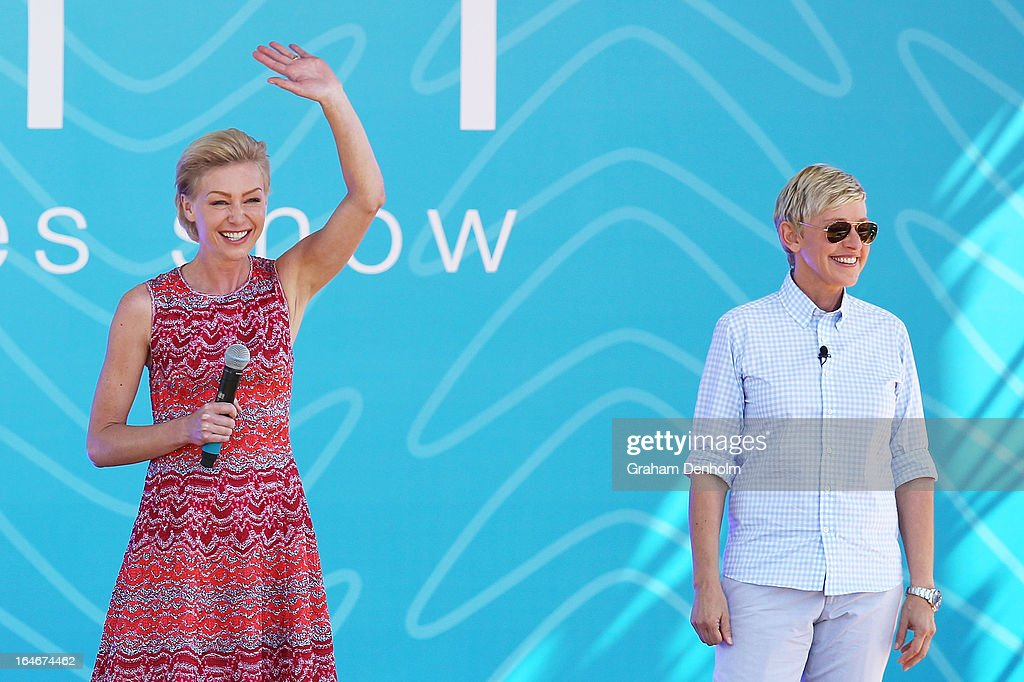 Television personality <a gi-track='captionPersonalityLinkClicked' href=/galleries/search?phrase=Ellen+DeGeneres&family=editorial&specificpeople=171367 ng-click='$event.stopPropagation()'>Ellen DeGeneres</a> (R) and <a gi-track='captionPersonalityLinkClicked' href=/galleries/search?phrase=Portia+de+Rossi&family=editorial&specificpeople=204197 ng-click='$event.stopPropagation()'>Portia de Rossi</a> appear on stage during the filming of her television show at Birrarung Marr on March 26, 2013 in Melbourne, Australia. DeGeneres is in Australia to film segments for her TV show, 'Ellen'.
