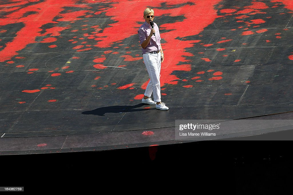 Television personality <a gi-track='captionPersonalityLinkClicked' href=/galleries/search?phrase=Ellen+DeGeneres&family=editorial&specificpeople=171367 ng-click='$event.stopPropagation()'>Ellen DeGeneres</a> appears on stage during the filming of her television show on a floating stage above Sydney Harbour on March 23, 2013 in Sydney, Australia. DeGeneres is in Australia to film segments for her TV show, 'Ellen'