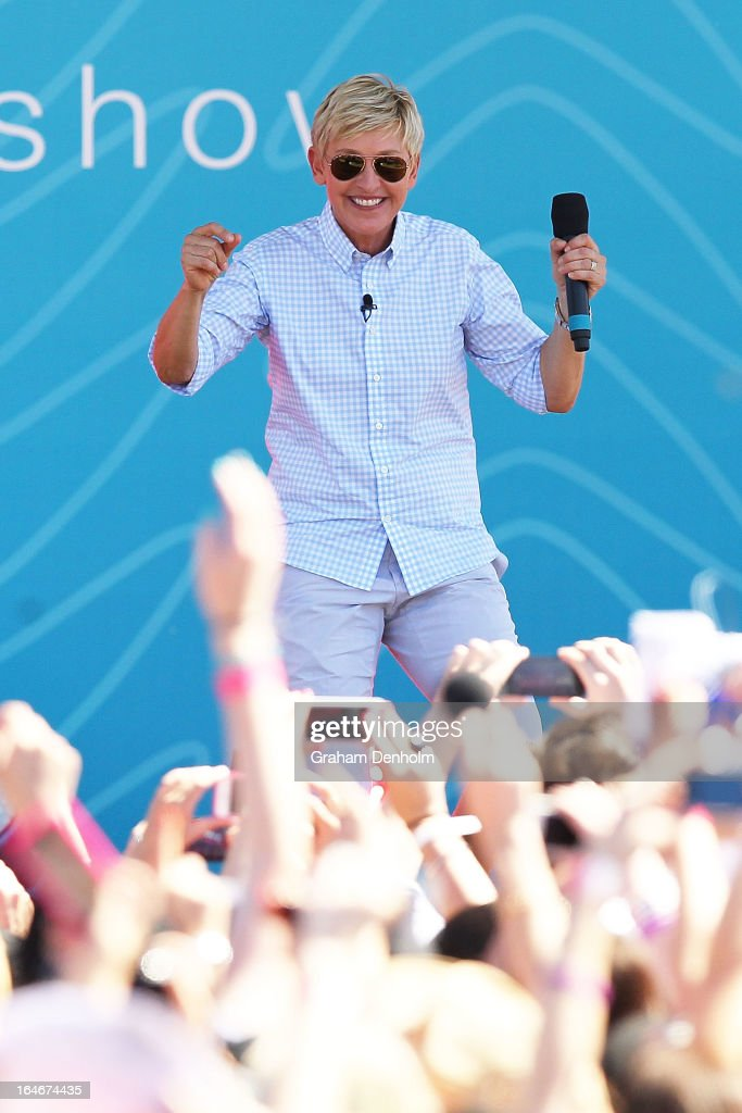 Television personality <a gi-track='captionPersonalityLinkClicked' href=/galleries/search?phrase=Ellen+DeGeneres&family=editorial&specificpeople=171367 ng-click='$event.stopPropagation()'>Ellen DeGeneres</a> appears on stage during the filming of her television show at Birrarung Marr on March 26, 2013 in Melbourne, Australia. DeGeneres is in Australia to film segments for her TV show, 'Ellen'.