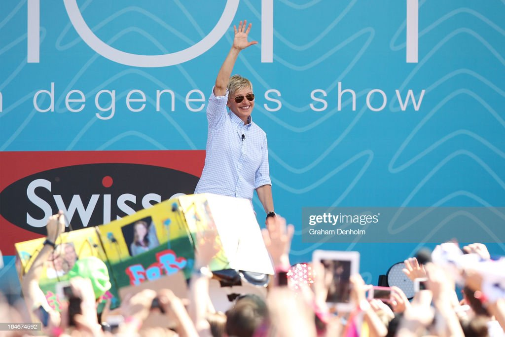 Television personality Ellen DeGeneres appears on stage during the filming of her television show at Birrarung Marr on March 26, 2013 in Melbourne, Australia. DeGeneres is in Australia to film segments for her TV show, 'Ellen'.
