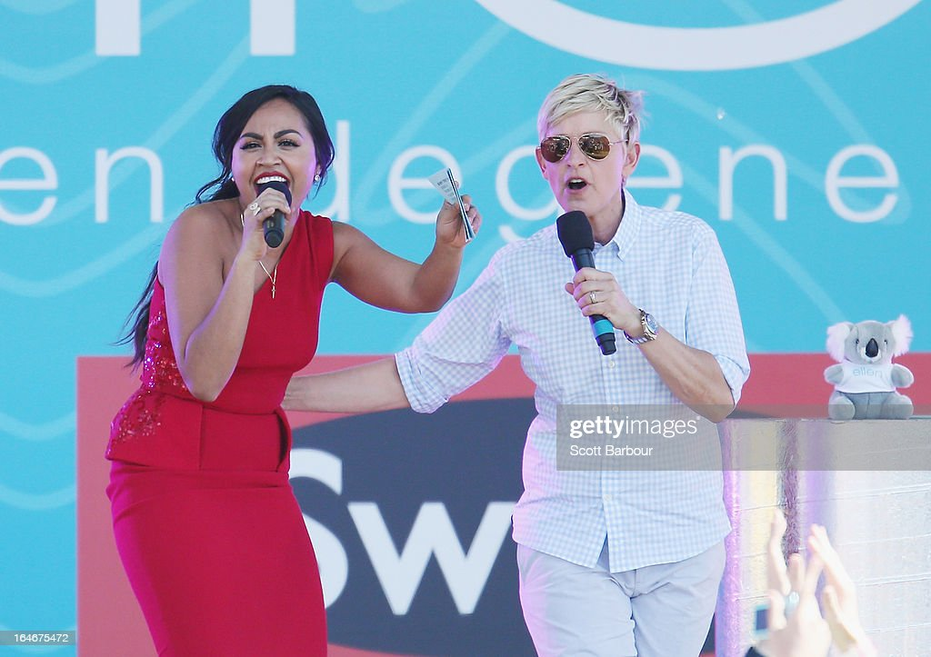 Television personality <a gi-track='captionPersonalityLinkClicked' href=/galleries/search?phrase=Ellen+DeGeneres&family=editorial&specificpeople=171367 ng-click='$event.stopPropagation()'>Ellen DeGeneres</a> (R) appears on stage with Australian singer <a gi-track='captionPersonalityLinkClicked' href=/galleries/search?phrase=Jessica+Mauboy&family=editorial&specificpeople=3911912 ng-click='$event.stopPropagation()'>Jessica Mauboy</a> during the filming of her television show at Birrarung Marr on March 26, 2013 in Melbourne, Australia. DeGeneres is in Australia to film segments for her TV show, 'Ellen'.