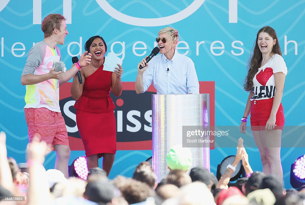 Television personality Ellen DeGeneres (2nd R) appears on stage with Australian singer <a gi-track='captionPersonalityLinkClicked' href=/galleries/search?phrase=Jessica+Mauboy&family=editorial&specificpeople=3911912 ng-click='$event.stopPropagation()'>Jessica Mauboy</a> (2nd L) during the filming of her television show at Birrarung Marr on March 26, 2013 in Melbourne, Australia. DeGeneres is in Australia to film segments for her TV show, 'Ellen'.