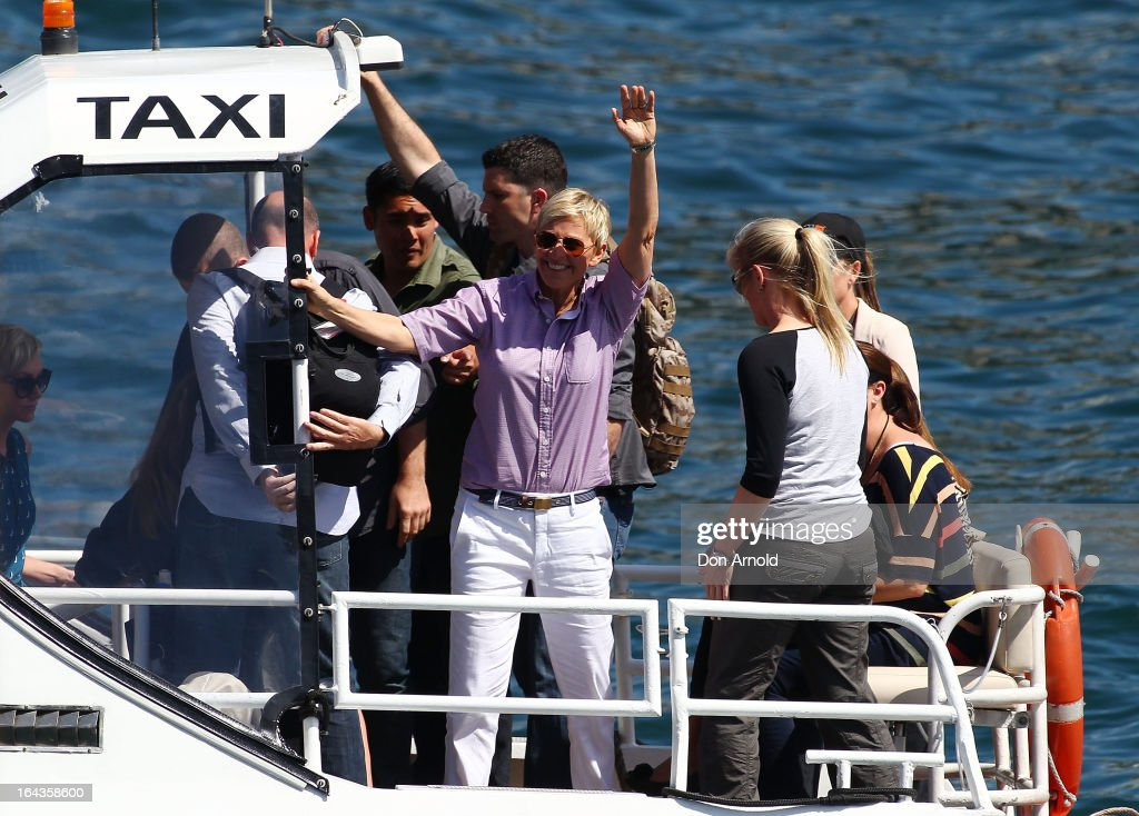 Television personality Ellen DeGeneres arrives by water taxi to the set of her television show being shot on a stage above Sydney Harbour on March 23, 2013 in Sydney, Australia. DeGeneres is in Australia to film segments for her TV show, 'Ellen'