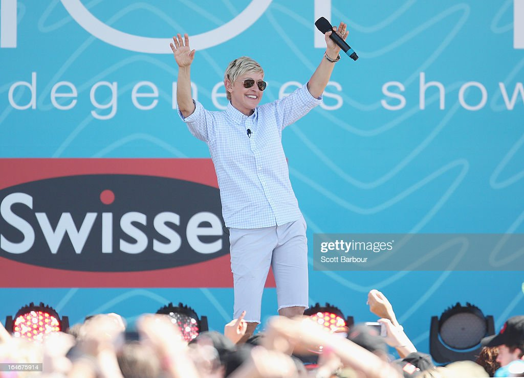 Television personality Ellen DeGeneres dances on stage during the filming of her television show at Birrarung Marr on March 26, 2013 in Melbourne, Australia. DeGeneres is in Australia to film segments for her TV show, 'Ellen'.
