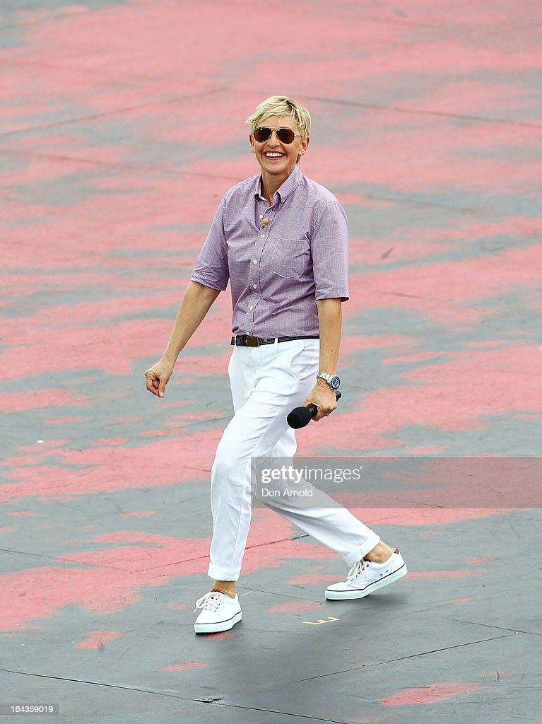 Television personality <a gi-track='captionPersonalityLinkClicked' href=/galleries/search?phrase=Ellen+DeGeneres&family=editorial&specificpeople=171367 ng-click='$event.stopPropagation()'>Ellen DeGeneres</a> dances on the set of her television show being shot on a stage above Sydney Harbour on March 23, 2013 in Sydney, Australia. DeGeneres is in Australia to film segments for her TV show, 'Ellen'