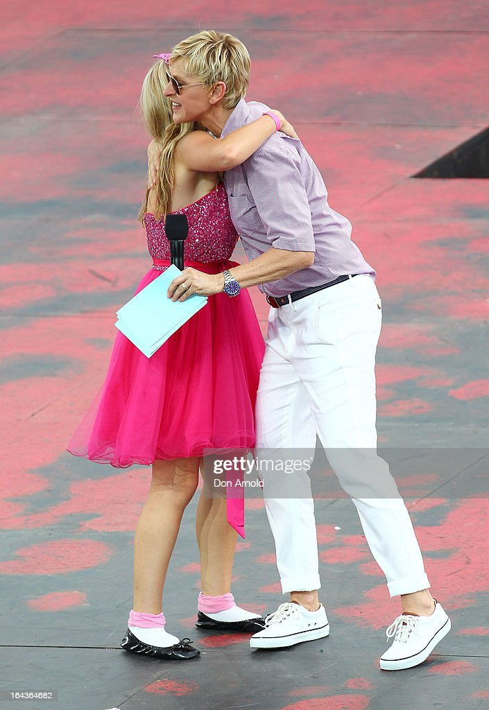 Television personality <a gi-track='captionPersonalityLinkClicked' href=/galleries/search?phrase=Ellen+DeGeneres&family=editorial&specificpeople=171367 ng-click='$event.stopPropagation()'>Ellen DeGeneres</a> greets contestants on the set of her televsion program being shot above Sydney Harbour on March 23, 2013 in Sydney, Australia. DeGeneres is in Australia to film segments for her TV show, 'Ellen'