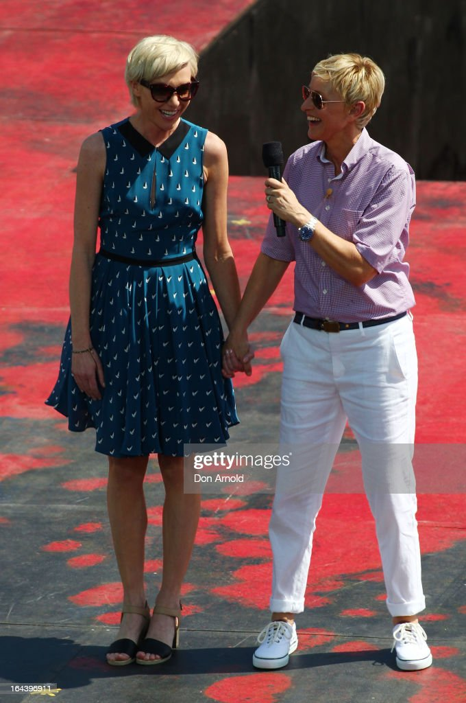Television personality <a gi-track='captionPersonalityLinkClicked' href=/galleries/search?phrase=Ellen+DeGeneres&family=editorial&specificpeople=171367 ng-click='$event.stopPropagation()'>Ellen DeGeneres</a> introduces her partner <a gi-track='captionPersonalityLinkClicked' href=/galleries/search?phrase=Portia+de+Rossi&family=editorial&specificpeople=204197 ng-click='$event.stopPropagation()'>Portia de Rossi</a> to the audience on March 23, 2013 in Sydney, Australia. DeGeneres is in Australia to film segments for her TV show, 'Ellen'
