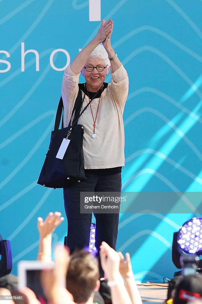 Television personality Ellen DeGeneres' mother <a gi-track='captionPersonalityLinkClicked' href=/galleries/search?phrase=Betty+DeGeneres&family=editorial&specificpeople=1541096 ng-click='$event.stopPropagation()'>Betty DeGeneres</a> appears on stage during the filming of DeGeneres' television show at Birrarung Marr on March 26, 2013 in Melbourne, Australia. DeGeneres is in Australia to film segments for her TV show, 'Ellen'.