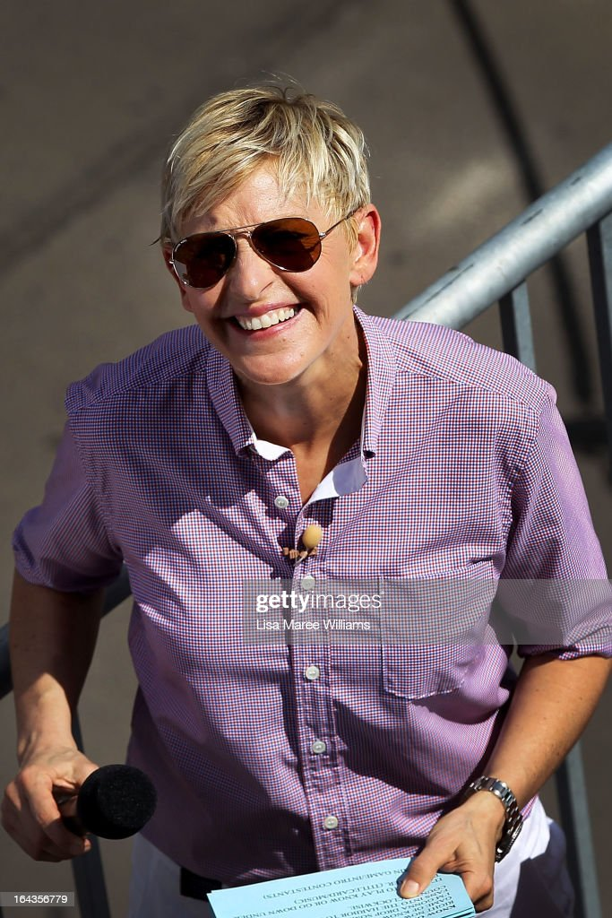 Television personality <a gi-track='captionPersonalityLinkClicked' href=/galleries/search?phrase=Ellen+DeGeneres&family=editorial&specificpeople=171367 ng-click='$event.stopPropagation()'>Ellen DeGeneres</a> takes a quick break between the filming of her television show on a floating stage above Sydney Harbour on March 23, 2013 in Sydney, Australia. DeGeneres is in Australia to film segments for her TV show, 'Ellen'