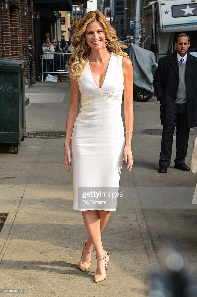 Television personality Erin Andrews enters the 'Late Show With David Letterman' taping at the Ed Sullivan Theater on March 10, 2014 in New York City.