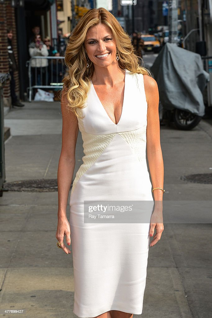 Television personality <a gi-track='captionPersonalityLinkClicked' href=/galleries/search?phrase=Erin+Andrews&family=editorial&specificpeople=834273 ng-click='$event.stopPropagation()'>Erin Andrews</a> enters the 'Late Show With David Letterman' taping at the Ed Sullivan Theater on March 10, 2014 in New York City.