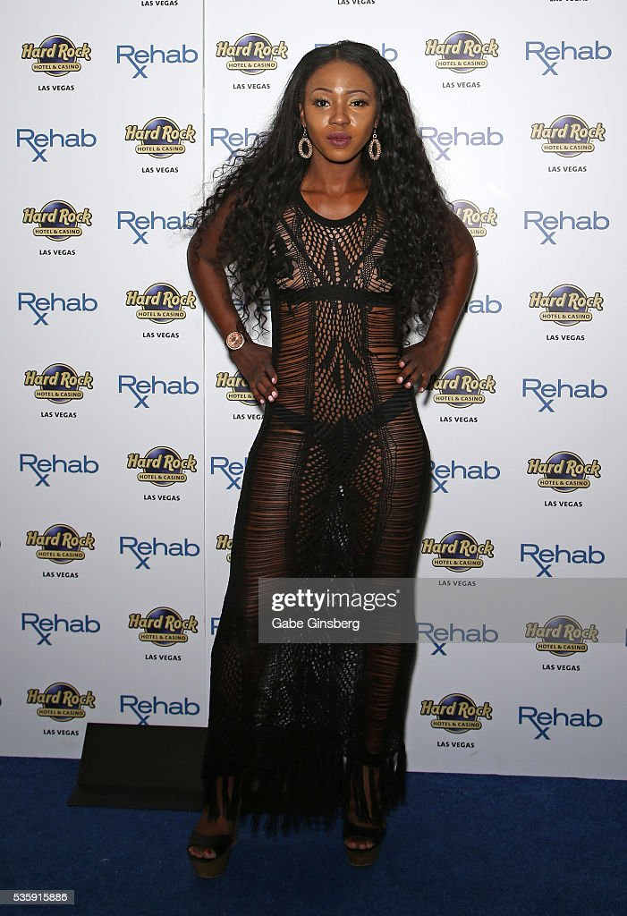 Television personality Faith Stowers from 'Vanderpump Rules' arrives at the Hard Rock Hotel & Casino's Rehab pool party on May 30, 2016 in Las Vegas, Nevada.