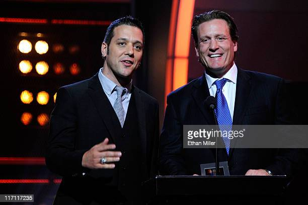 Television personality George Stroumboulopoulos and former NHL player Jeremy Roenick present during the 2011 NHL Awards at The Pearl concert theater...