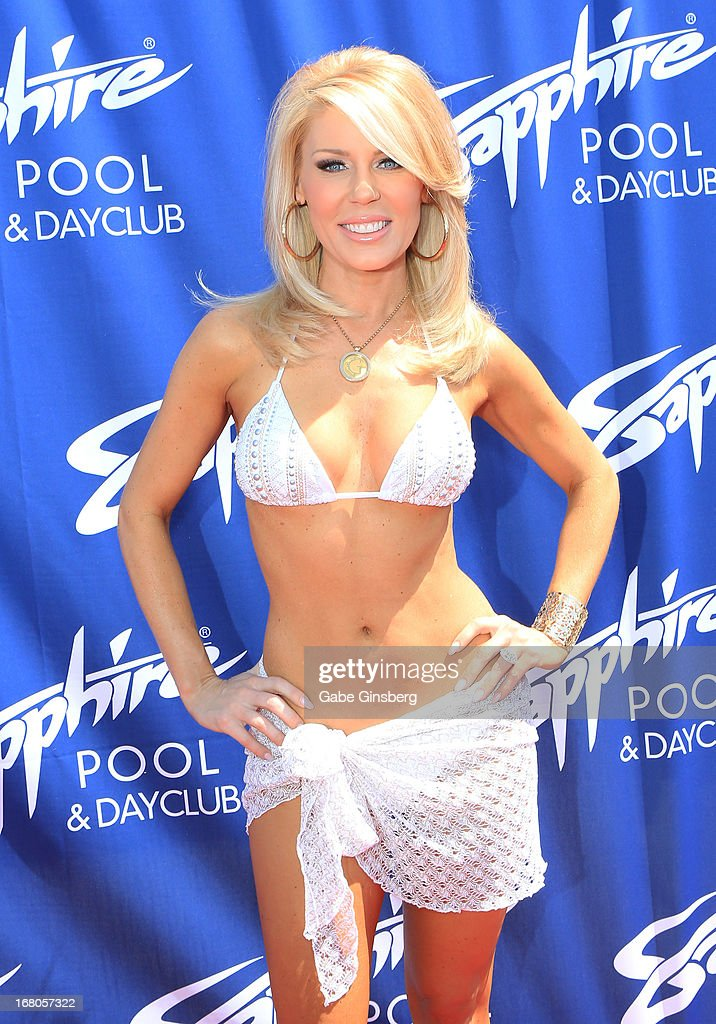 <Television personality Gretchen Rossi arrives at the Sapphire Pool & Day Club grand opening party on May 4, 2013 in Las Vegas, Nevada.