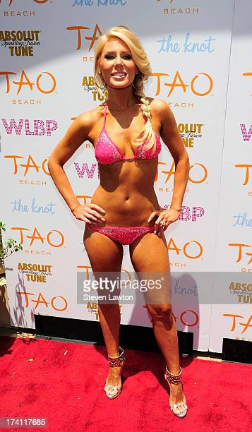 Television personality Gretchen Rossi arrives at the Tao Beach at The Venetian Las Vegas on July 20 2013 in Las Vegas Nevada