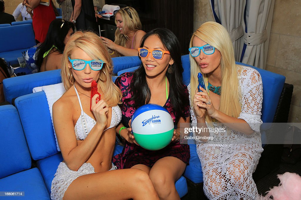 Television personality Gretchen Rossi, Caya Hefner, and television personality/model Crystal Hefner pose at the Sapphire Pool & Day Club grand opening party on May 4, 2013 in Las Vegas, Nevada.