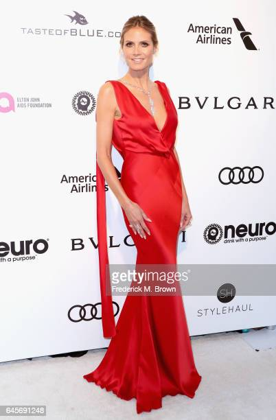 Television Personality Heidi Klum attends the 25th Annual Elton John AIDS Foundation's Academy Awards Viewing Party at The City of West Hollywood...